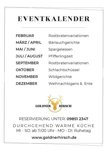Eventkalender 2021 | Goldner Hirsch Dinkelsbühl